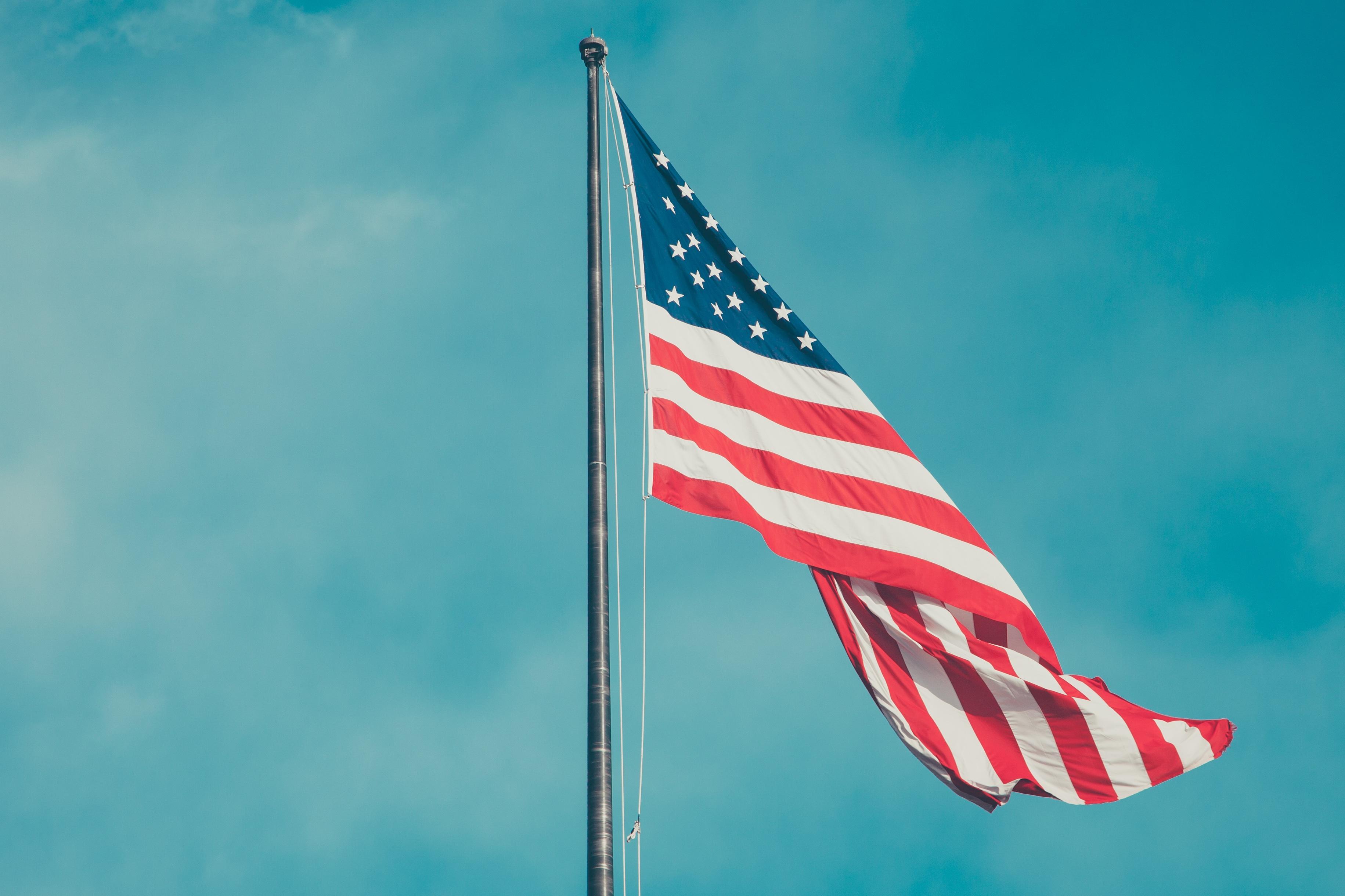 American-flag-blue-sky