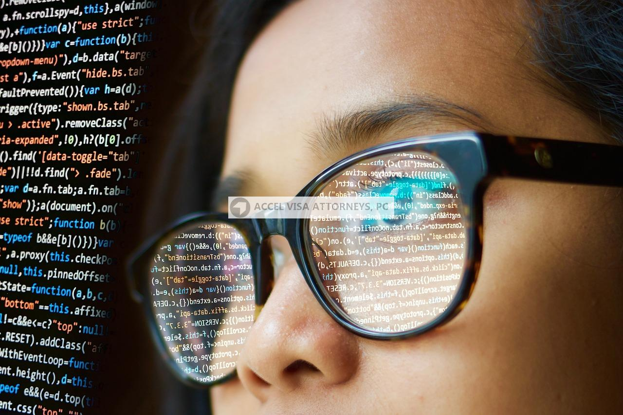 Woman writing computer code